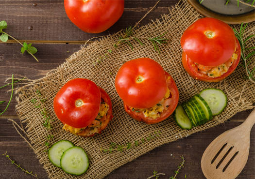 Interesting Scrambled Egg Stuffed Tomatoes recipe